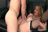 Blonde slutty MILF in stockings gets pink twat fucked hard