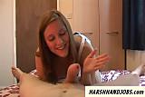 Younger girlfriend gives poor guy a harsh handjob in bedroom