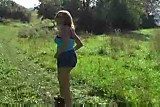 amateur flashing and blowjob in field