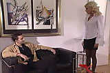 Beautiful blond with black stockings fucking on sofa