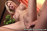 Busty girlfriend enjoys sucking and fucking her boyfriend