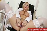 Filthy blonde big tits milf in nurse uniform