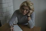 Blonde student footjob