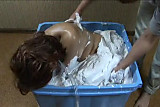 Japan Sexy Girl is Casted in Concrete Box