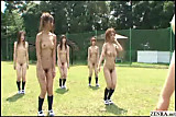 NakedJapanese students have outdoor gym class