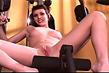 Brunette with fat pussy lips poses on bowflex while showing her pussy