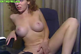 Cam No Sound: Sexy busty amateur redhead rubbing pussy on webcam