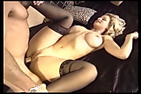 Busty blonde milf fucking in black stockings
