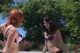 Vixen and Chloe by the pool
