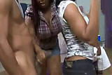 Bunch of Black women sucking off stripper