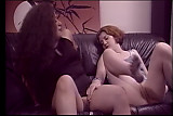 Redhead and black cuttie taste each other pussies on sofa
