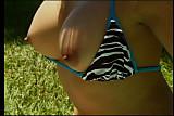 Beautiful lesbians take off bikinis and fuck poolside