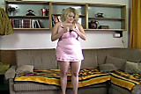BBW blonde strips and plays with dildo on divan