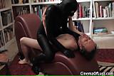 Masked woman steals cum from a man