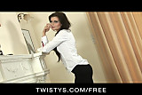 Twistys - Skinny sexy brunette in heels strips & rubs pussy