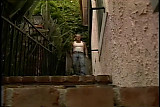 Brunette in summer dress seduces her neighbor