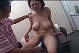 Mosaic; Big tit Japanese MILF strips and fucks