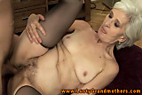 Old granny in stockings sucks and fucks