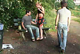 Public - public sex threesome in a park