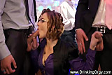 Euro pornstar sucking cock at party while tugging others