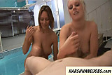 Syren Sexton and gf give cbt handjob to horny guy