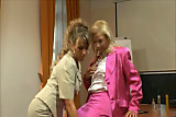 Pantyhose Threesome in the Office - Pt. 1