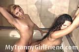 Agustina and pamela taking a bath