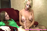 Blonde cougar slut giving cocksuck