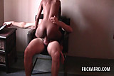 Sex addict black bitch riding white penis on a chair