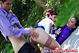 Un glamourous behaviour for sluts in a park trio