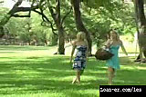Hot Blonde Lesbians have sex in a Public Park