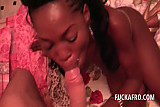 Perky african teen hoe filling her mouth with white hug dick