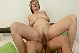 Lusty blonde GILF amateur rides young dick