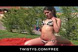 Twistys - Busty bikini-clad babe oils up & masturbates