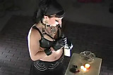 Gothic Dominatrix Ramona SMOKES a cigarette in BDSM LEATHER