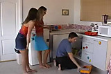 2 girls having sex with a plumber