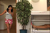 A brunette fuck a man has a tanning bed