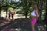 Brazilian babe Fernanda Alencar goes camping
