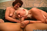 Horny Mature Honeys Share A Cock
