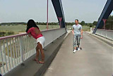 Hot brunette fucks on a top of a bridge - Public sex