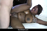 Huge tits tight ebony teen eats cum