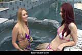 Redhead blonde babes lesbian sex