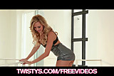 Big-tit Brett Rossi fists her tight pink pussy to amazing or