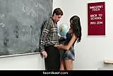 Horny latina schoolgirl fucks a newcomer
