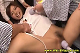 Asian group of babes get vibrator on their pussys