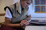 Nylon stockings footjob schoolgirl - amazing blonde!