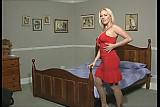 Sexy Blonde in Tan Pantyhose Rides Her Dildo