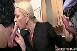 She sucks and fucks two cocks at job interview
