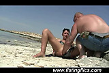 Shameless wife fist fucked on the beach