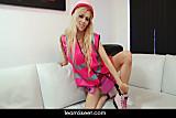 Sexy blonde babe Michelle Moist striptease dildo solo play